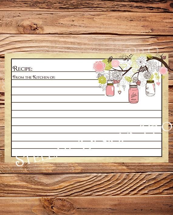 recipe card recipe card mason jars pink vintage bridal shower invitation wedding shower
