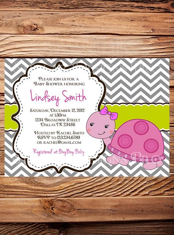 turtle baby shower invitation girl boy chevron stripes turtle baby