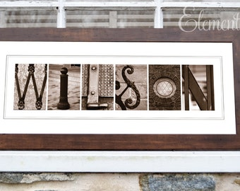 Alphabet Sepia Letter Art Photography - Framed - Personalized with your Last Name - 8x20 Brown Frame