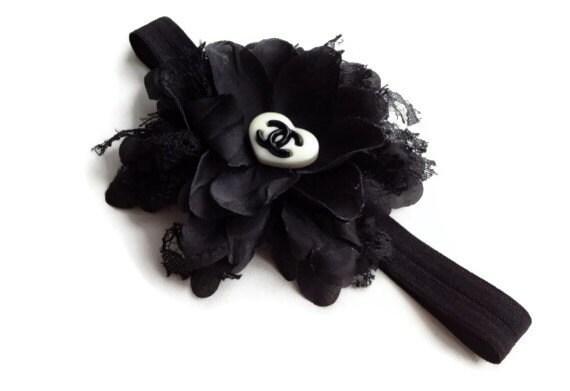 Designer Inspired Heart logo Shabby Chic Black Flower on black Headband for newborn, baby, toddler photo prop