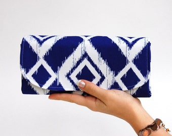 Deluxe Accordion Wallet - Large Women's Wallet - 12 Credit Card Slots - Smartphone Clutch - MADE to ORDER - Royal Blue Ikat