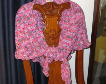 Soft Pink Triangle Shoulder Shawl Scarf - Hand Crochet Accent Scarf - Formal or Casual - Prom Cruise Ship All Ages - Item 3009