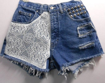 27 inch waist......Vintage High Waisted denim shorts -----Crochet Lace  and Studs