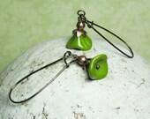 Green Earrings Trumpet Flower Earrings Olive Green Earrings Avocado Green Earrings Retro Earrings Women Jewelry Gift Pea Green Earrings
