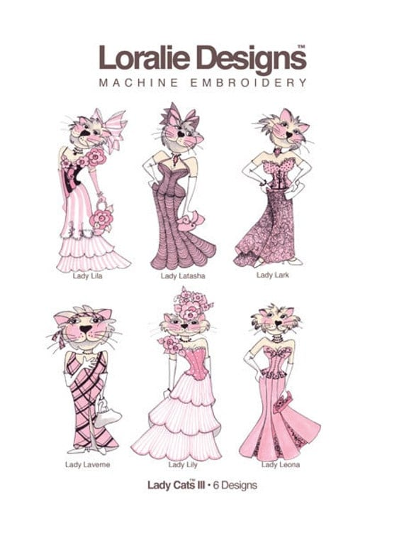 Lady Cats III Embroidery Design Collection - CD