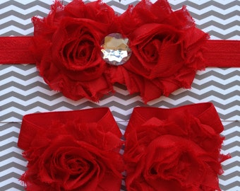 SALE Red Shabby Sandals & Headband Set baby girl size newborn 0-5 5-12 12-18 mos shower spring summer boutique Gift photo prop 4th of July