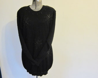1980s , black sweater,  beaded tunic ,large top, plus size, XL sweater, party wear,