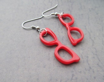 Hipster Red Glasses Dangle Earrings Silly earrings, funny earrings