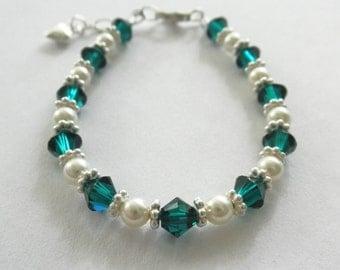 Emerald Birthstone Bracelet, Emerald Bracelet, Emerald Birthstone, Emerald Jewelry, Pearl Bracelet, Pearl Jewelry, Birthstone Jewelry