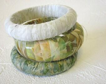 Bali Fabric Wrapped Bangle Bracelet Three Green Gold and Ivory Batik Bracelets