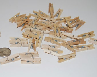 45 mini wood clothes pins -  wooden clip embellishment - tiny garland and banner clips