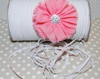 """1/8"""" Skinny Elastic - White Flat FOE White Fold Over Elastic -  FOE 1/8"""" inch Baby Headbands - 5 or 10 yards White  Skinny Elastic 4mm"""
