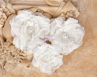 "Fabric Flowers - Paquita White 567255 chiffon lace fabric flowers 2""- to 3"" size (3 pcs)  applique flower floral embellishment  hair hat"