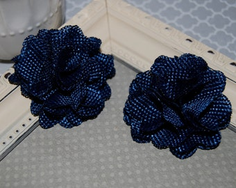 Flax Fabric Flowers - Navy Blue linen Burlap fabric flowers (2 pcs) - use for headbands - hair hat shoe clips  rustic vintage decorations