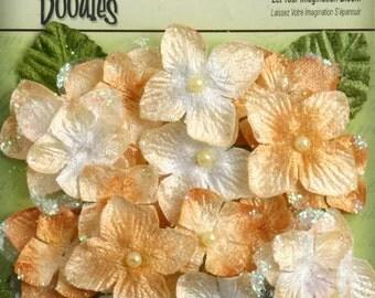 fabric flowers  Golden Yellow Velvet hydrangeas -Butterscotch  1296-140 -  Glitter Hydrangeas -  22 flower per packages.