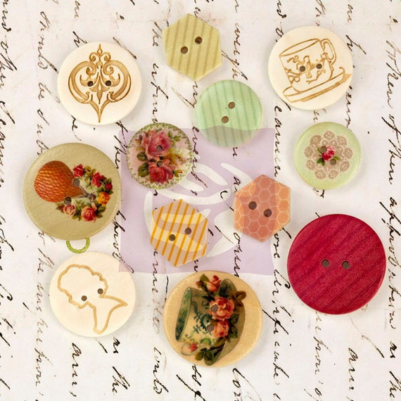 Vintage Wooden Buttons 30