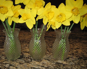 Four  Clear Pressed Glass Bud Vases , Hoosier Glass, Diamond Pattern