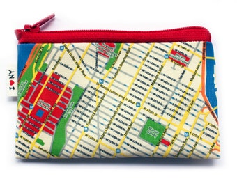wallet, change purse, card holder - New York city coin purse wallet with red zipper - I love NY - on sale