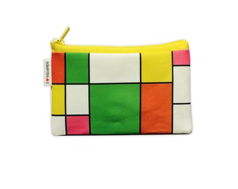 Colorful womens wallet coin purse - Orange Yellow Green Pink squares printed Wallet coin purse bright colorblock zipper pouch