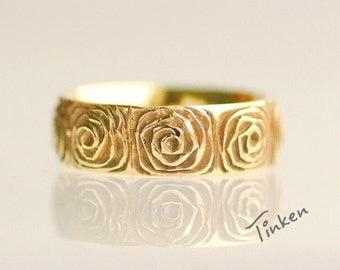 Rose flower ring, fine jewelry, women's single band, floral gold ring, 14k yellow gold - Rose No.7