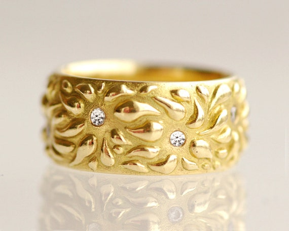 Statement ring, wedding band, unique eternity band, wide wedding band, 18k yellow gold, diamonds - New Beginning No.10