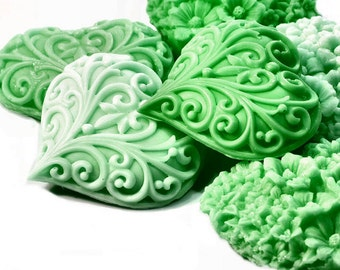 Heart Soaps in Graduated Shades of Green