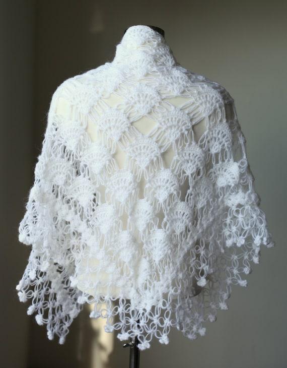 Bridal Shrug Shawl Bolero White Crochet Shawl By Modacrochet