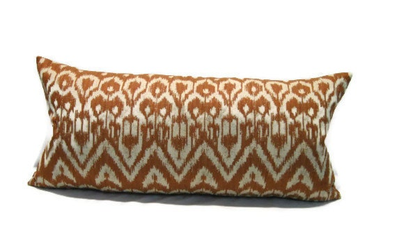 Items similar to Decorative Lumbar Throw Pillow Cover In Rust and Cream Tones12 inch by 24 inch ...