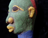 Red, blue and green Cameroon Tuareg bead ceramic head