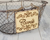 "Rustic Wedding ""Cards"" Sign WITH WIRE BASKET   for Your Rustic, Country, Shabby Chic Wedding or Special Occasion"