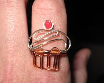 Wire Wrapped CUPCAKE Ring MADE to ORDER With a Cherry On Top