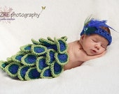 Peacock Newborn Baby Girl Cape and Headband Set Photography Photo Prop in BLUE