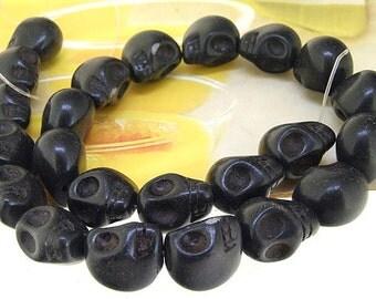"17mm gemstones Loose Black  turquoise skull beads stone FULL STRAND 16"""