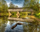 Schofield Ford Covered Bridge in Spring, Landscape Photograph, Reflection, River, Bucks County, Pennsylvania, Trees, Green, Home Decor