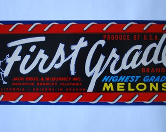Vintage Crate Art - First Grade Brand - Starting School :) -  Melons Shipping label - 1940's lithograph - kitsch