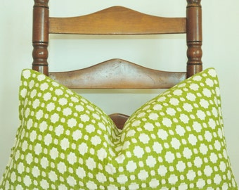 Betwixt Pillow, Green Pillow, Handmade in USA, Pillow Cover, Decorative Pillow, Throw Pillow, Toss Pillow, Celerie Kemble,11x20 inch, Lumbar