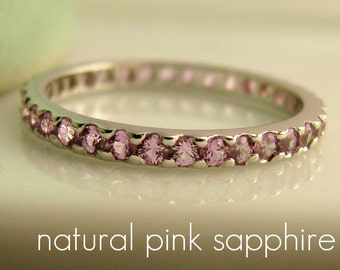 Pink Sapphire Eternity Stack Ring -  White Gold plated over 925 Sterling Silver Wedding Band - Customize Pink Sapphire - Natural Saphhire