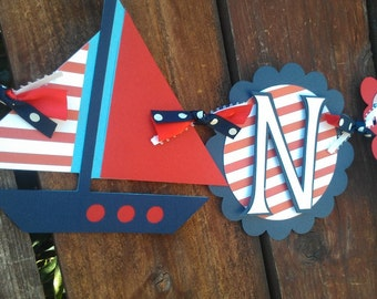 Custom Nautical theme Name banner in red, white and blue.  Whale banner, ocean banner, sailboat banner