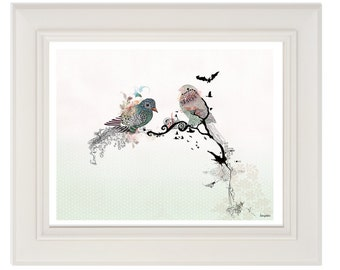 Love birds art, Pen and ink art, Bird illustration, Love birds painting, Horizontal print