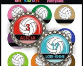 Editable Volleyballs Bottle Cap Images - 4x6 Digital Jpeg File Collage Sheet - BottleCap One Inch Circles for Pendants, Hair Bows, Key Chain