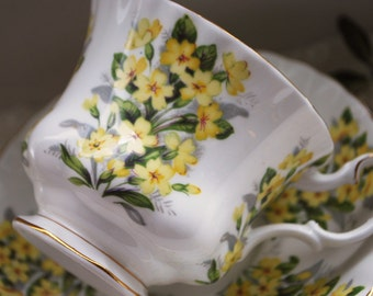 Royal Albert Teacup and Saucer, Primrose, Springtime Series Tea Cup