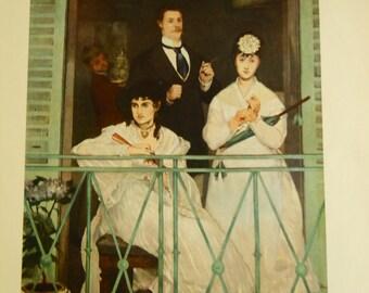 Vintage Plate Eight Titled THE BALCONY, Original 1869, Print 1950'S The Louvre Paris Collectible Home Decor Paris Apt