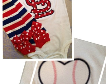 St Louis Cardinals outfit for baby boy or girl -- bodysuit and leg warmers with baseball on the butt -- red, blue and white