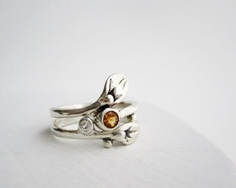 Leaf Ring, Set of 2 Rings, Small Leaf Silver Rings with Citrine and White sapphire