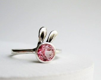 Pink Bunny Ring, Pink Topaz Sterling Silver Ring, Rabbit Fine Jewelry,MADE TO ORDER