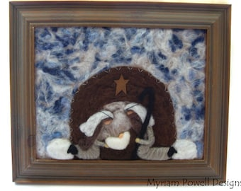 Nativity - Felted Nativity - Fiber Art  Nativity - Waldorf Nativity - Framed Nativity
