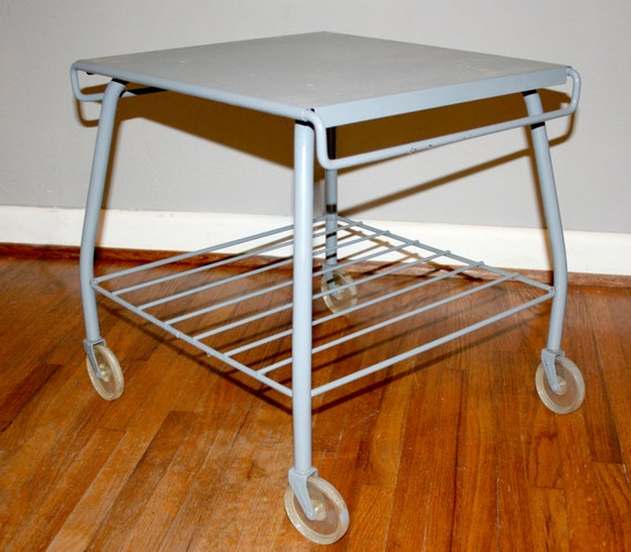 Vintage Gray Industrial Metal Rolling Cart - Work Table on Casters - Plant Stand on Wheels
