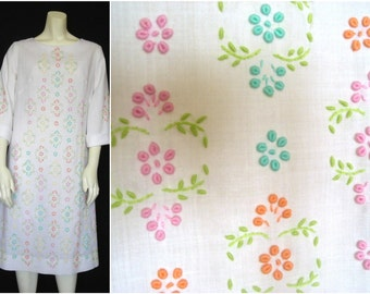 Vintage White Cotton Dress with Multi-Colored Floral Embroidery - Summer Breeze Makes Me Feel Fine