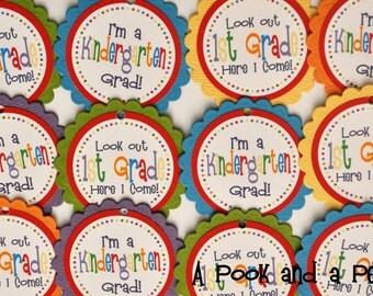 Kindergarten Preschool Grade School Graduation Gift Favor Tags Double Sided