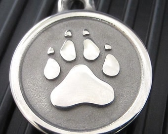 Medium Stainless Steel Silver Paw Pet ID Tag